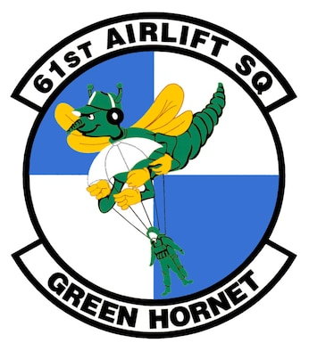 Military patch of a green hornet carrying a paratrooper