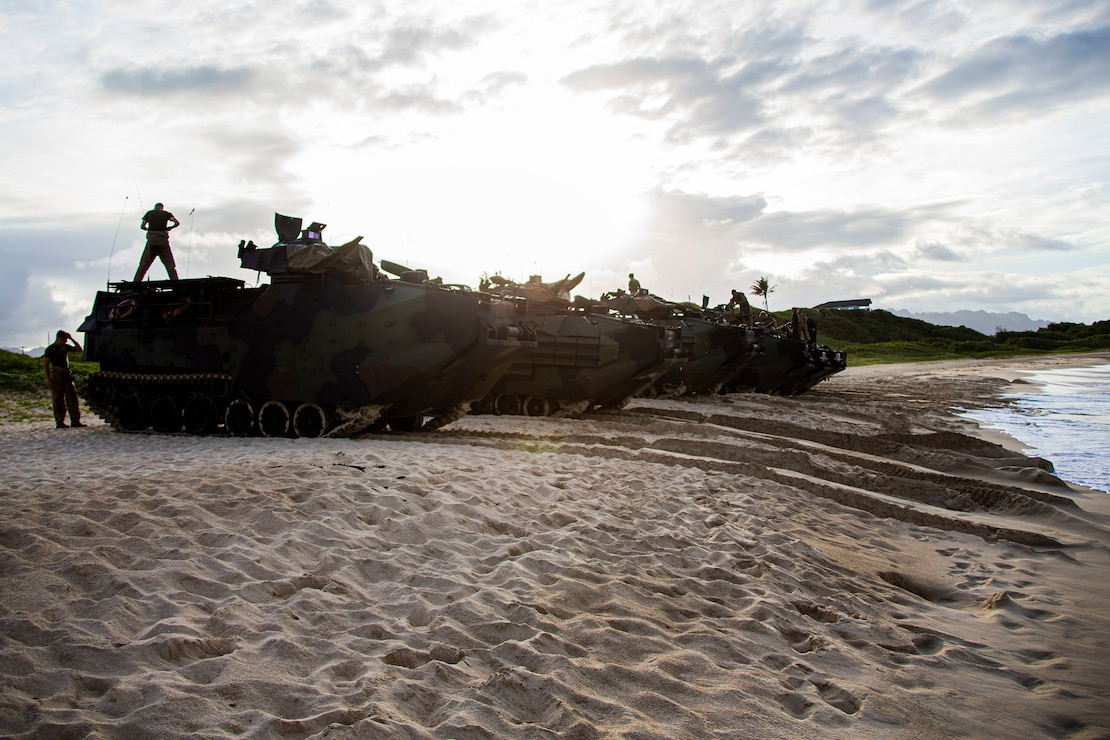 U.S. Marines stage their assault amphibious vehicles prior to night operations on Marine Corps Base Hawaii, May 27.