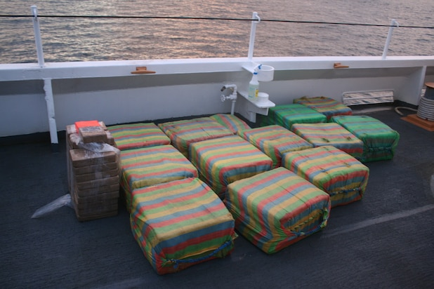 Suspected cocaine is shown on the deck of the Coast Guard Cutter Confidence.