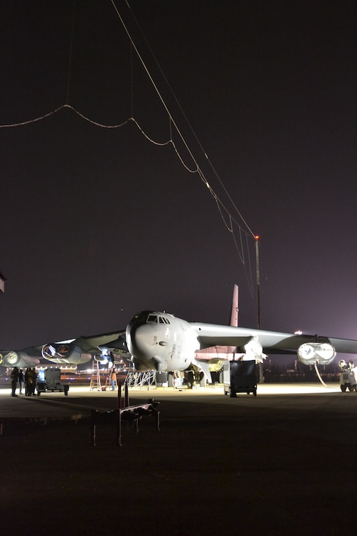 A B-52H Stratofortress bomber from the 2nd Bomb Wing, Barksdale AFB, Louisiana underwent electromagnetic pulse hardness testing at Tinker's Compass Rose Testing Facility earlier this year.  (U.S. Air Force photo/Kelly White)