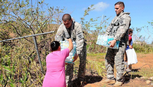 Citizen-Soldiers of the Puerto Rico Army National Guard distributed supplies, food and water to isolated towns in Utuado, Puerto Rico, after Hurricane Maria devastated the island in September 2017.