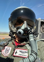 Lt. Col. John Beshai, 944th Aeromedical Staging Squadron flight surgeon, prepares for take-off in March 2019 during an F-16 training mission at Luke Air Force Base, Ariz. (Courtesy photo)
