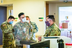 Col. Christopher Baca, the 150th Special Operations Wing Vice Commander, visited Airmen and Soldiers working at the San Juan Regional Medical Center in Farmington, New Mexico.
