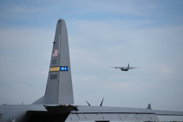 A C-130J Super Hercules assigned to the 314 Airlift Wing flies over Little Rock Air force Base, Arkansas.