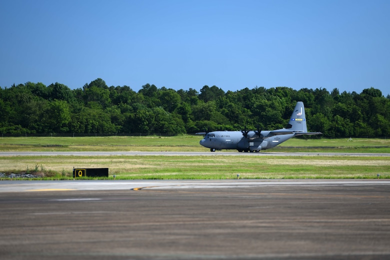 A C-130J Super Hercules assigned to the 314 Airlift Wing takes off at Little Rock Air Force Base, Arkansas.