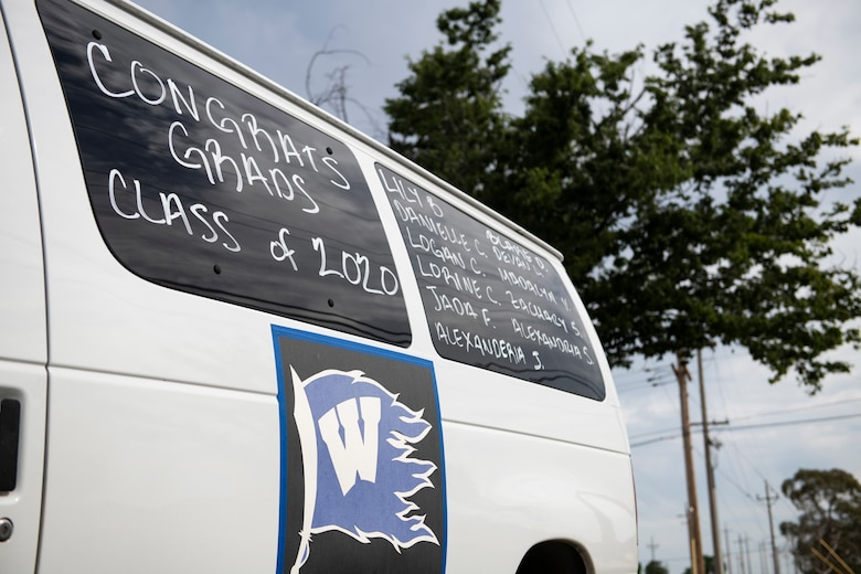A van decorated to celebrate Beale's 2020 high school graduates sits in a parking lot on Beale Air Force Base.
