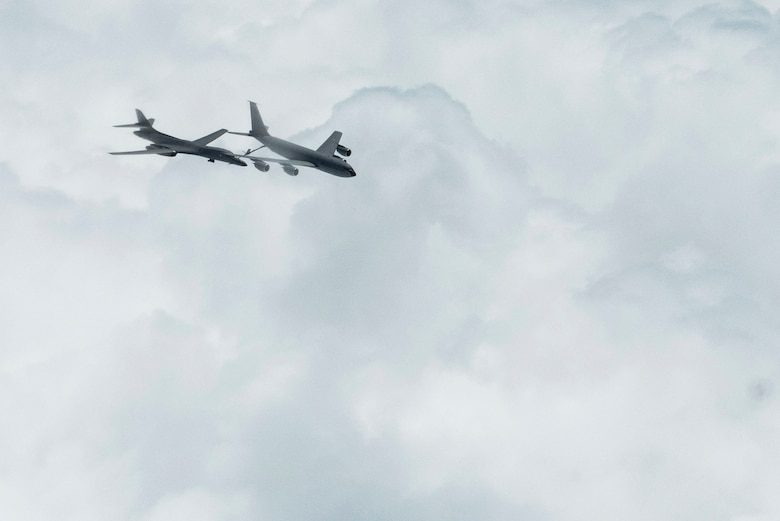 A B-1B Lancer assigned to the 28th Bomb Wing, Ellsworth Force Base, South Dakota, receives fuel from a Turkish air force KC-135 Stratotanker during a Bomber Task Force mission over the Black Sea May 29, 2020. Bomber missions enable crews to maintain a high state of readiness and proficiency, and validate our always-ready global strike capability. (U.S. Air Force photo by Staff Sgt. Joshua Magbanua)