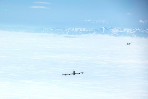 U.S. Air Force KC-135 Stratotankers assigned to 22nd Expeditionary Air Refueling Squadron fly in formation with Turkish Air Force KC-135 Stratotankers assigned to 10th Tanker Base, Incirlik Air Base, Turkey, over Turkey during a Bomber Task Force mission May 29, 2020. Operations and engagements with our allies and partners demonstrate and strengthen our shared commitment to global security and stability. (U.S. Air Force photo by Staff Sgt. Joshua Magbanua)