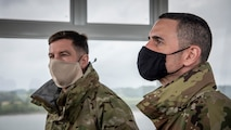 U.S. Air Force Chief Master Sgt. Rick Winegardner Jr., left, the U.S. Forces Japan senior enlisted leader, and Chief Master Sgt. Brian Kruzelnick, right, the Fifth Air Force command chief, observe the range from a tower at Draughon Range near Misawa Air Base, Japan, May 20, 2020. Winegardner and Kruzelnick noted the capabilities of the range and the role it plays in the training of the suppression of enemy air defense mission to Misawa aviators, specifically. The SEAD mission requires a pilot's ability to put bombs on target and defend against surface-to-air missiles to ensure the protection of U.S. assets and personnel. (U.S. Air Force photo by Airman 1st Class China M. Shock)