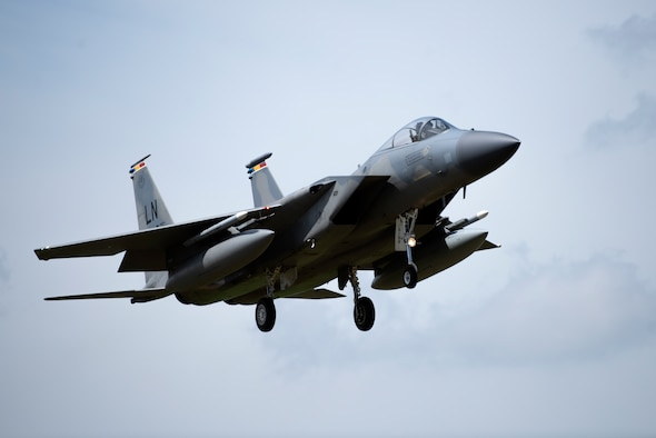 An F-15C Eagle assigned to the 493rd Fighter Squadron prepares to land at Royal Air Force Lakenheath, England, June 2, 2020. The 493rd FS conducts routine training to ensure the Liberty Wing is always ready to deliver air combat capabilities to the fight when called upon. (U.S. Air Force photo by Airman 1st Class Jessi Monte)