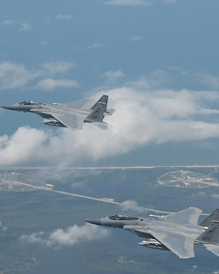 Florida Air National Guard F-15s from the 125th Fighter Wing, Jacksonville, Florida, conducted a North American Aerospace Defense Command (NORAD) mission, defending the skies over the Kennedy Space Center during the first manned space launch in nearly nine years, Cape Canaveral, Florida, May 30, 2020.
