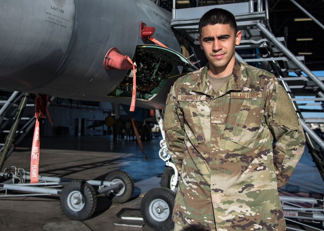 Airman First Class Frankie Rodriguez poses for a photo at Sheppard Air Force Base, Texas