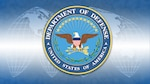 The Department of Defense emblem on a background with a segmented world map.