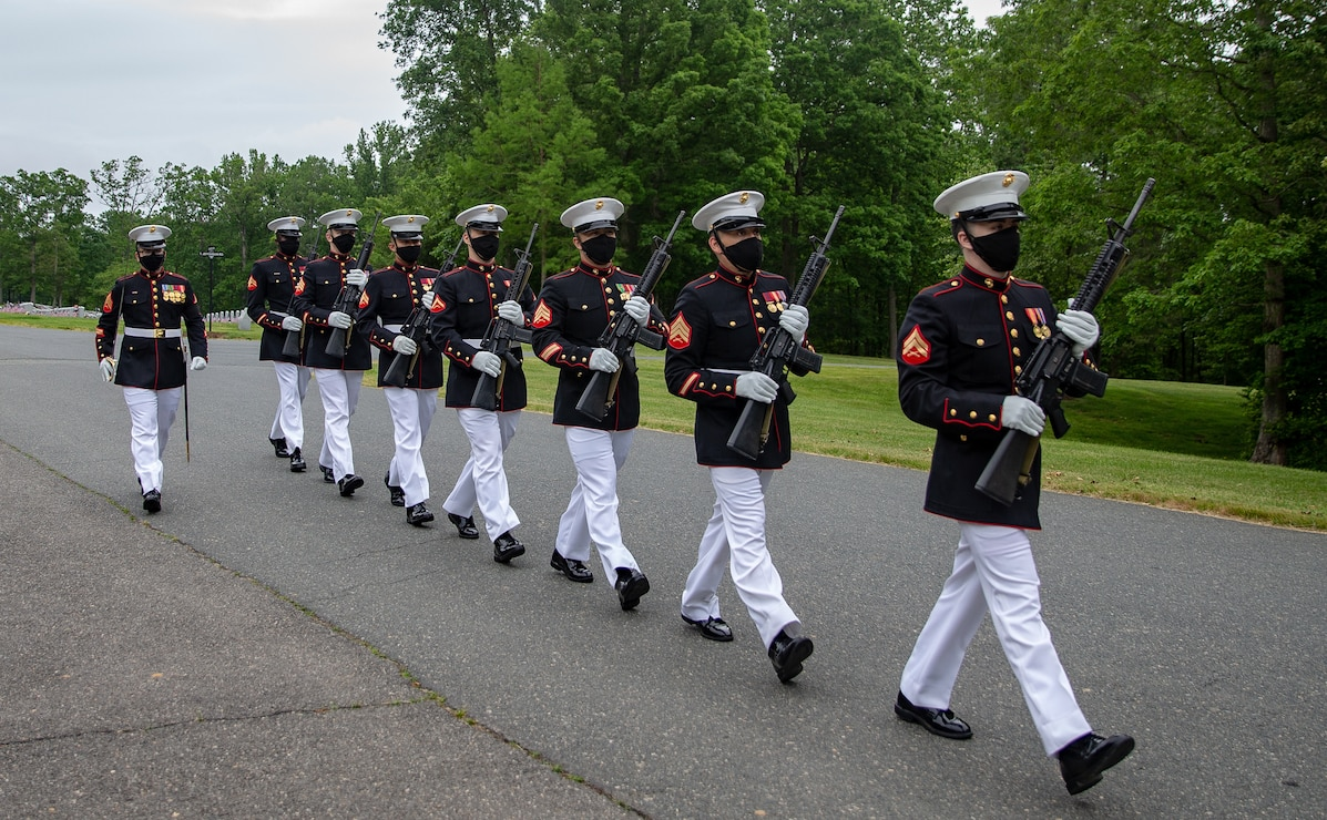 U.S. Marines with Headquarters and Service Battalion conduct a Memorial Day Ceremony at the Quantico National Cemetery, Triangle, Va., May 25.