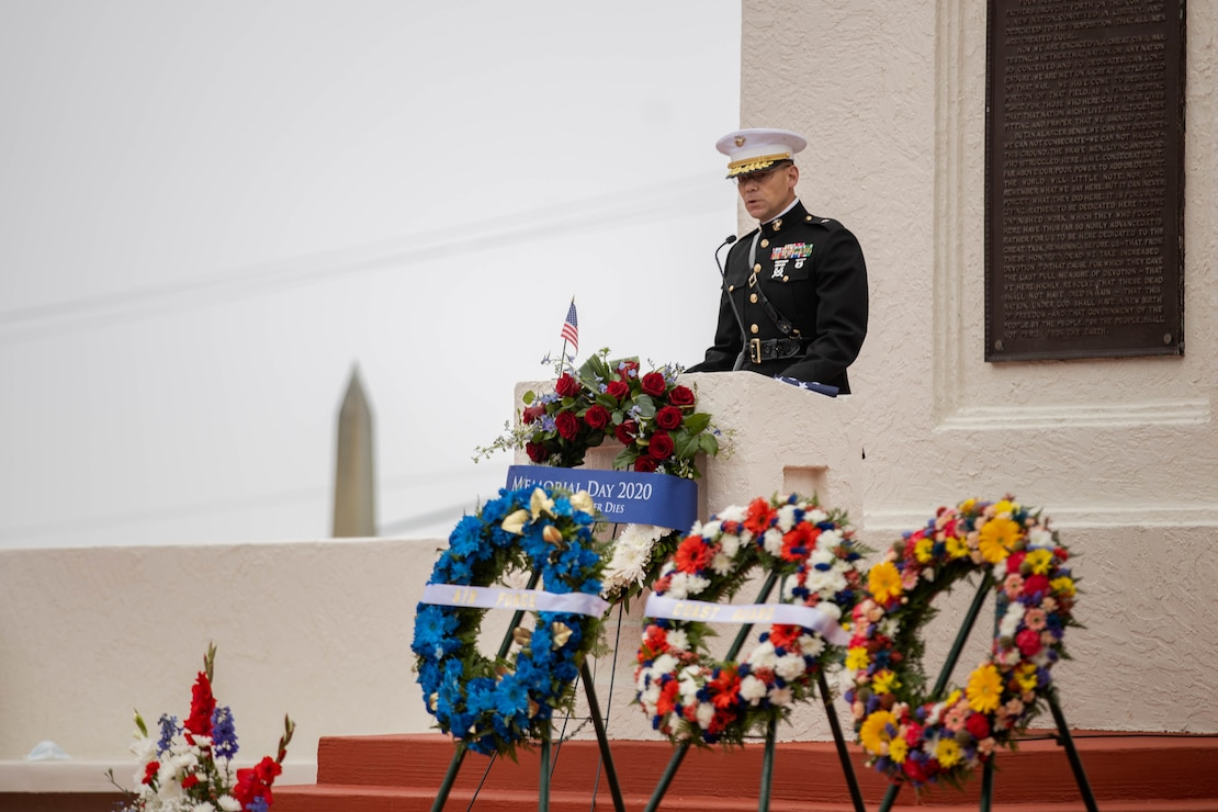 Brig. Gen. Ryan P. Heritage speaks to the audience during an annual Memorial Day ceremony at Fort Rosecrans National Cemetery, May 25.