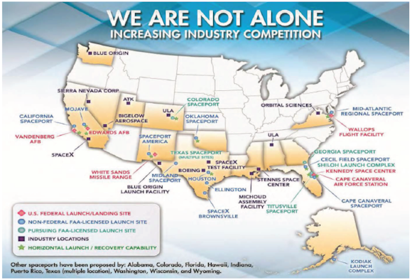 Map depicting US spaceport locations