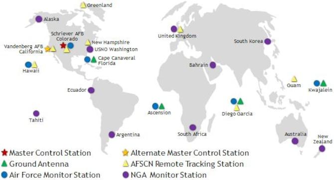 Map depicting the world's major space ports