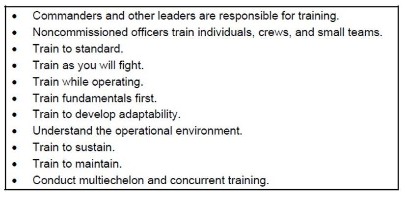 US Army 11 principles of training