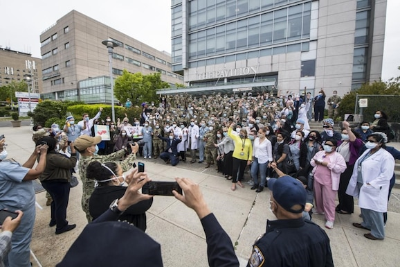 Reserve Citizen Airmen, along with other military members deployed to help in New York hospitals, were given a celebratory send off May 22 at the Queens Hospital Center in New York City. Military personnel were all thanked for their help assisting hospital staff with COVID-19 patients. (Senior Airman Xavier Navarro)