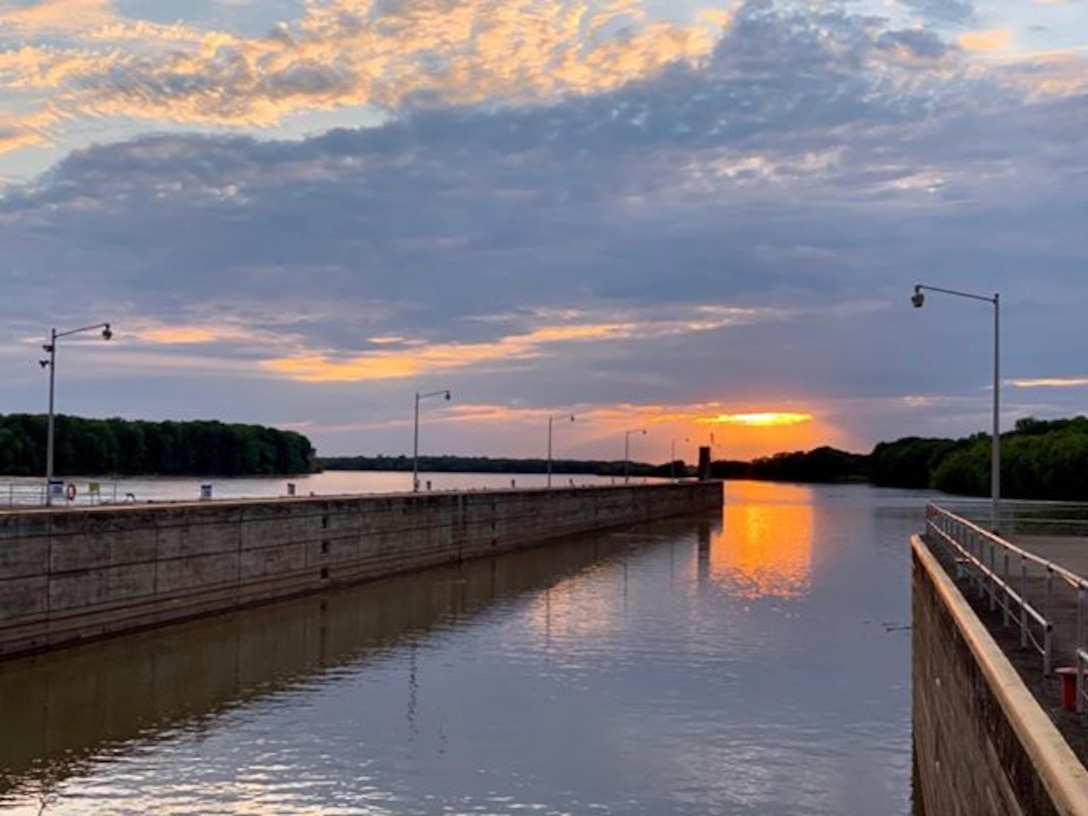 Sunset at John T. Myers Locks and Dam