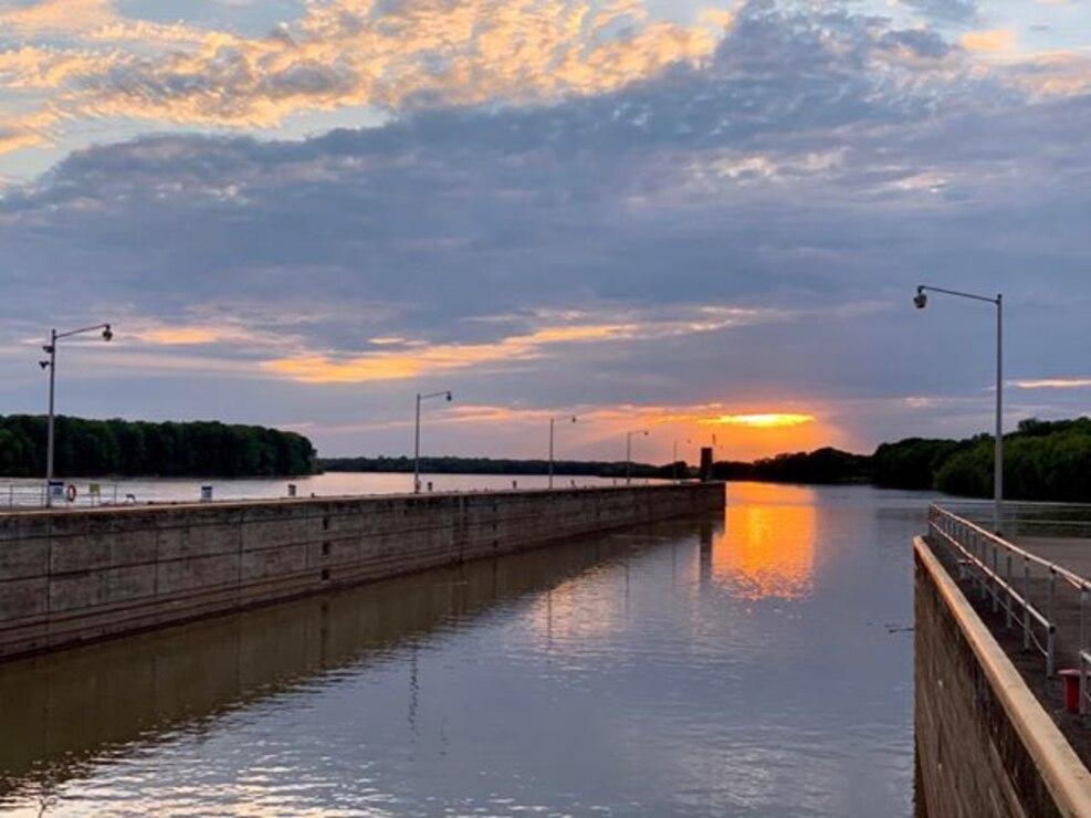 Sunset at John T. Myers Locks and Dam