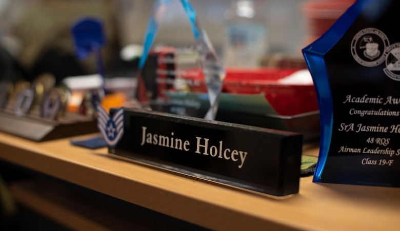 A name plate for U.S. Air Force Staff Sgt. Jasmine Holcey, 786th Force Support Squadron relocations supervisor, sits on her desk at Ramstein Air Base, Germany, June 1, 2020.