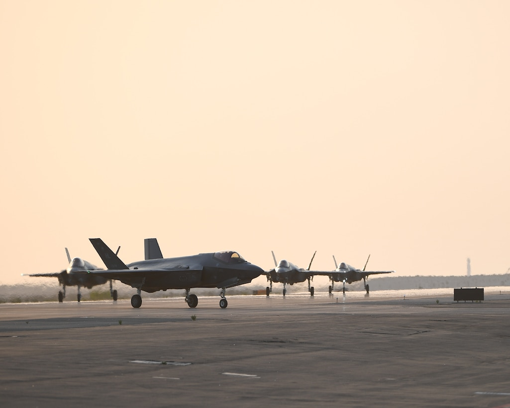 The 421st Fighter Squadron, Hill Air Force Base, Utah, arrived at Al Dhafra Air Base, United Arab Emirates, May 30, 2020. Their mission is to support and deploy the F-35 Lightning II and to continue the 380th Air Expeditionary Wing's capabilities of delivering combat airpower, defending the region, and developing relations with regional partners.(U.S. Air Force photo by Maj. Rodney Ellison)