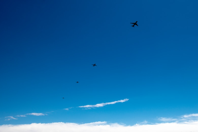 U.S. Air Force KC-46 Pegasus aircraft fly in formation above Altus Air Force Base, Oklahoma, during a large formation exercise, May 21, 2020.