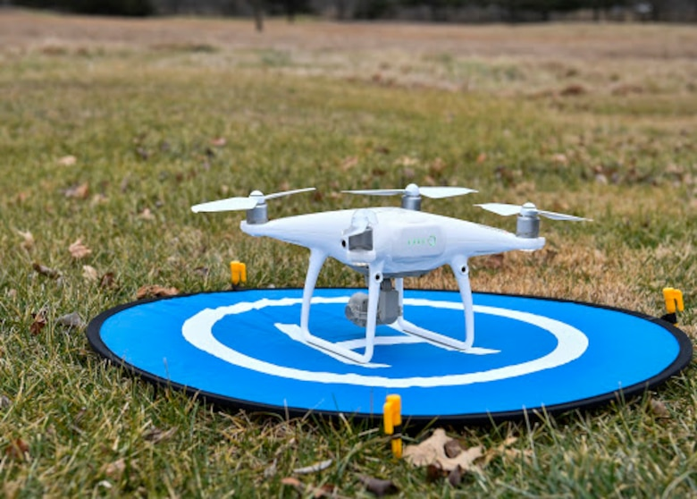 A drone sits on a landing pad on Joint Base McGuire-Dix-Lakehurst, N.J., Jan. 31, 2020. The drones, which were used by the local Civil Air Patrol wing, allowed the 87th Security Forces Squadron to use the new Dronebuster technology which will be utilized to defend the installation from unauthorized drones flying over Joint Base MDL airspace. (U.S. Air Force photo by Staff Sgt. Jake Carter)