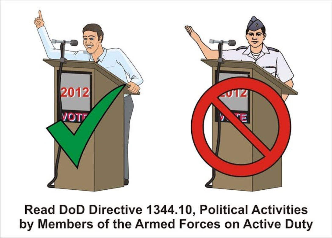 With the 2020 Presidential election approaching, it's important Airmen understand political guidelines, restrictions and how they can participate. Airmen are not excluded from the political process and have multiple avenues for participation in political activities. (Air Force graphic by James Luman)