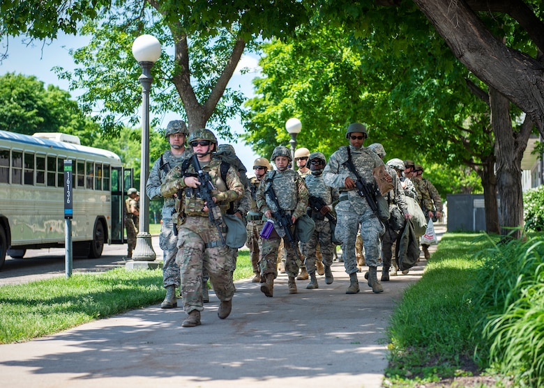 U.S. Air Force Airmen from the 133rd Airlift Wing arrive at the Minnesota State Capital grounds to perform augmentee security detail in St. Paul, Minn., June 1, 2020.