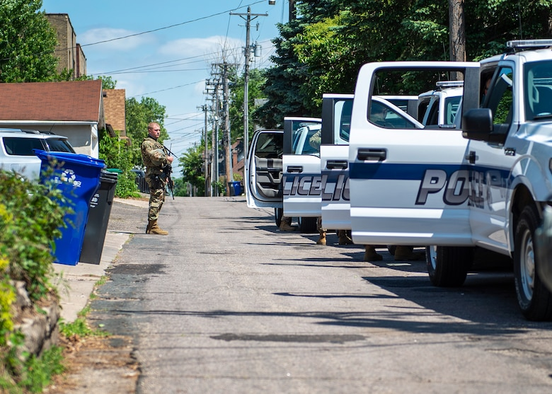 U.S. Air Force Airmen from the 133rd Security Forces Squadron prepare to connect with local law enforcement to assist in their policing efforts in St. Paul, Minn., June 1, 2020.