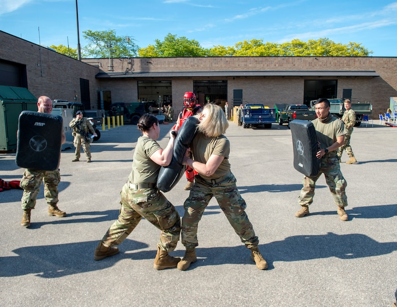 U.S. Air Force Airmen from the 133rd Airlift Wing take part in riot control training taught by the 133rd Security Forces Squadron in support of civil unrest  in St. Paul, Minn., May 31, 2020.