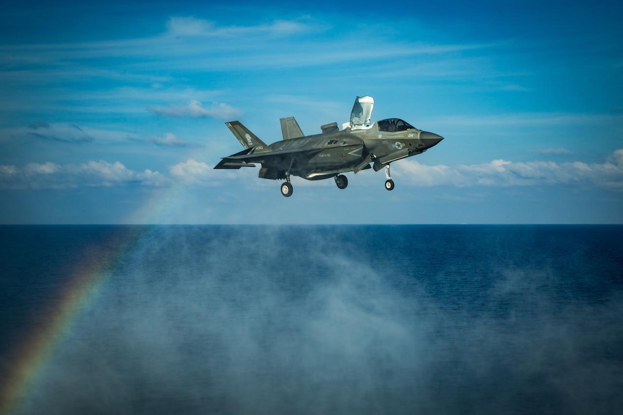 F-35B joint strike fighter in flight.