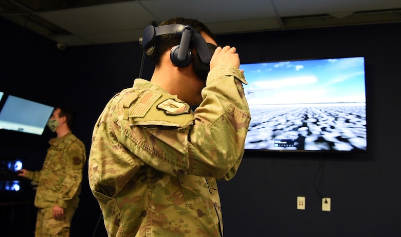 Maintenance instructor uses virtual reality equipment for training