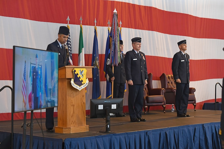 U.S. Air Force Brig. Gen. Daniel T. Lasica, 31st Fighter Wing outgoing commander, relinquishes command of the 31st FW to U.S. Air Force Brig. Gen. Jason E. Bailey. U.S. Air Force Brig. Gen. Daniel T. Lasica led 4,500 Airmen supporting operations across three combatant commands from June 17, 2018 to June 5, 2020. (U.S. Air Force photo by Staff Sgt. Valerie Halbert)