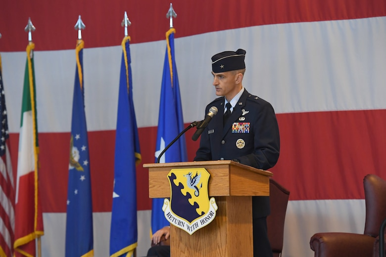 U.S. Air Force Brig. Gen. Daniel T. Lasica, 31st Fighter Wing outgoing commander, bids farewell to the Wyvern Nation during a change of command ceremony at Aviano Air Base, Italy, June 5, 2020. U.S. Air Force Brig. Gen. Daniel T. Lasica led 4,500 airmen supporting operations across three combatant commands from June 17, 2018 to June 5, 2020.(U.S. Air Force photo by Staff Sgt. Valerie Halbert)
