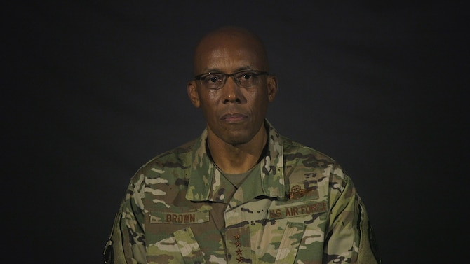 Gen. CQ Brown, Jr., Pacific Air Forces commander offers his perspective as a senior Air Force leader and African American. (U.S. Air Force photo by Tech. Sgt. Zachary Vaughn)