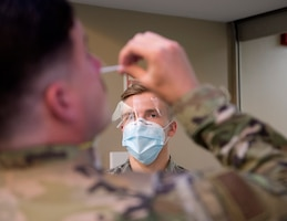 U.S. Air Force Airman from the 133rd Medical Group, oversees COVID-19 testing in St. Paul, Minnesota, June 4, 2020. The Minnesota National Guard, including the 133rd Airlift Wing, were mobilized in support of Minnesota's Executive Order 20-64, performing patrols, manning control points, and assisting firefighters in accomplishing their lifesaving mission by providing security throughout Minneapolis, Saint Paul, and surrounding communities. (U.S. Air National Guard photo by Amy M. Lovgren)