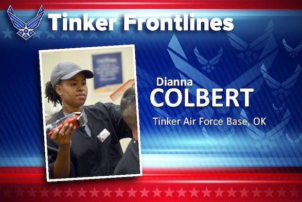 Dianna Colbert is a hair stylist at the barber shop inside the Tinker Exchange and has worked here for 10 years.