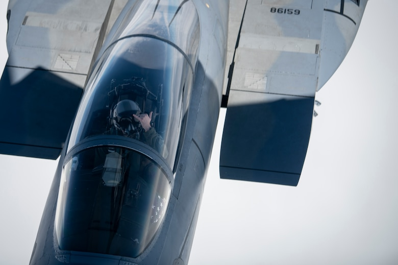 A U.S. Air Force F-15C Eagle assigned to the 48th Fighter Wing, RAF Lakenheath, England, breaks off after receiving fuel from a KC-135 Stratotanker assigned to the 100th Air Refueling Wing, RAF Mildenhall, England, before a formation flight supporting the 76th anniversary commemoration of D-Day off the French coast, June 6, 2020. D-Day remains a historic reminder of how the dedicated resolve of allies with a common purpose and shared vision builds proven partnerships that endure. (U.S. Air Force photo by Tech. Sgt. Emerson Nuñez)