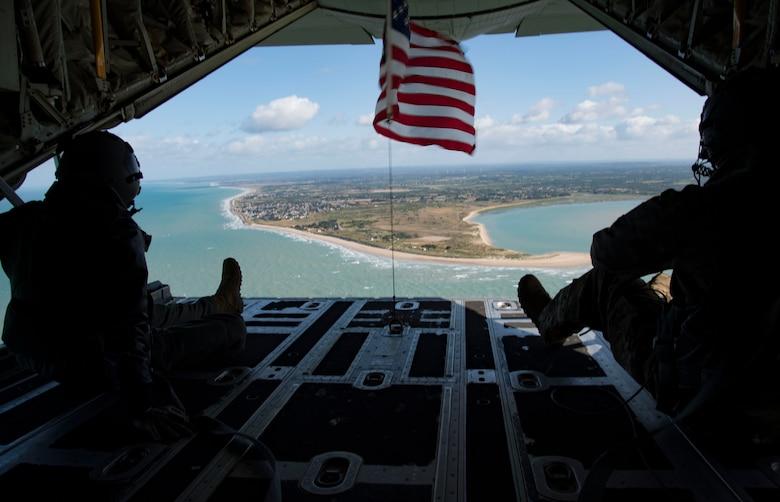 A photo of Airmen watching the ocean