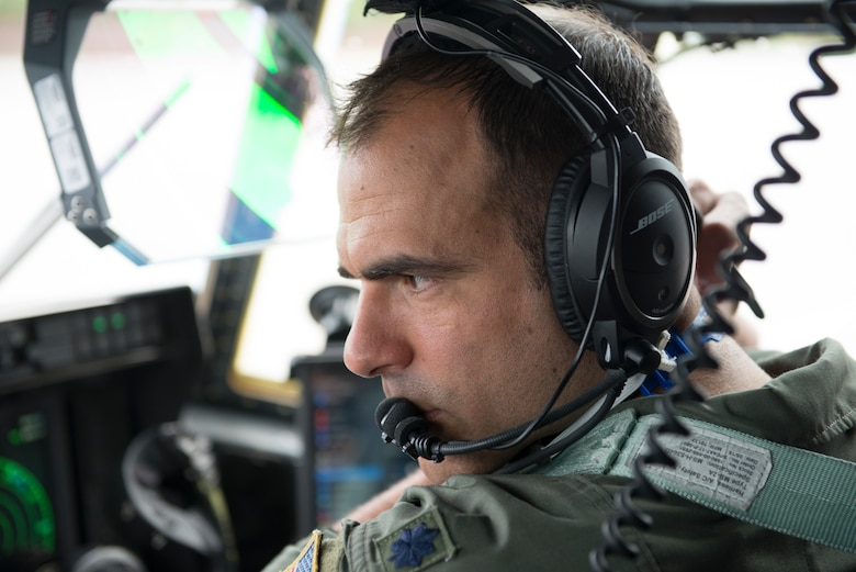 A photo of a pilot preparing for takeoff