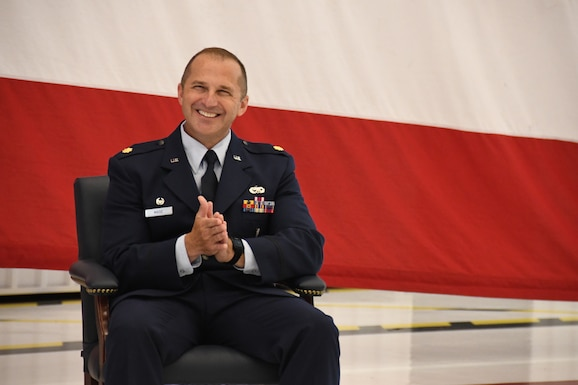 Maj. Michael Maise, 926th Aircraft Maintenance Squadron Commander, during his assumption of command ceremony June 6, 2020 at Nellis Air Force Base, Nevada.