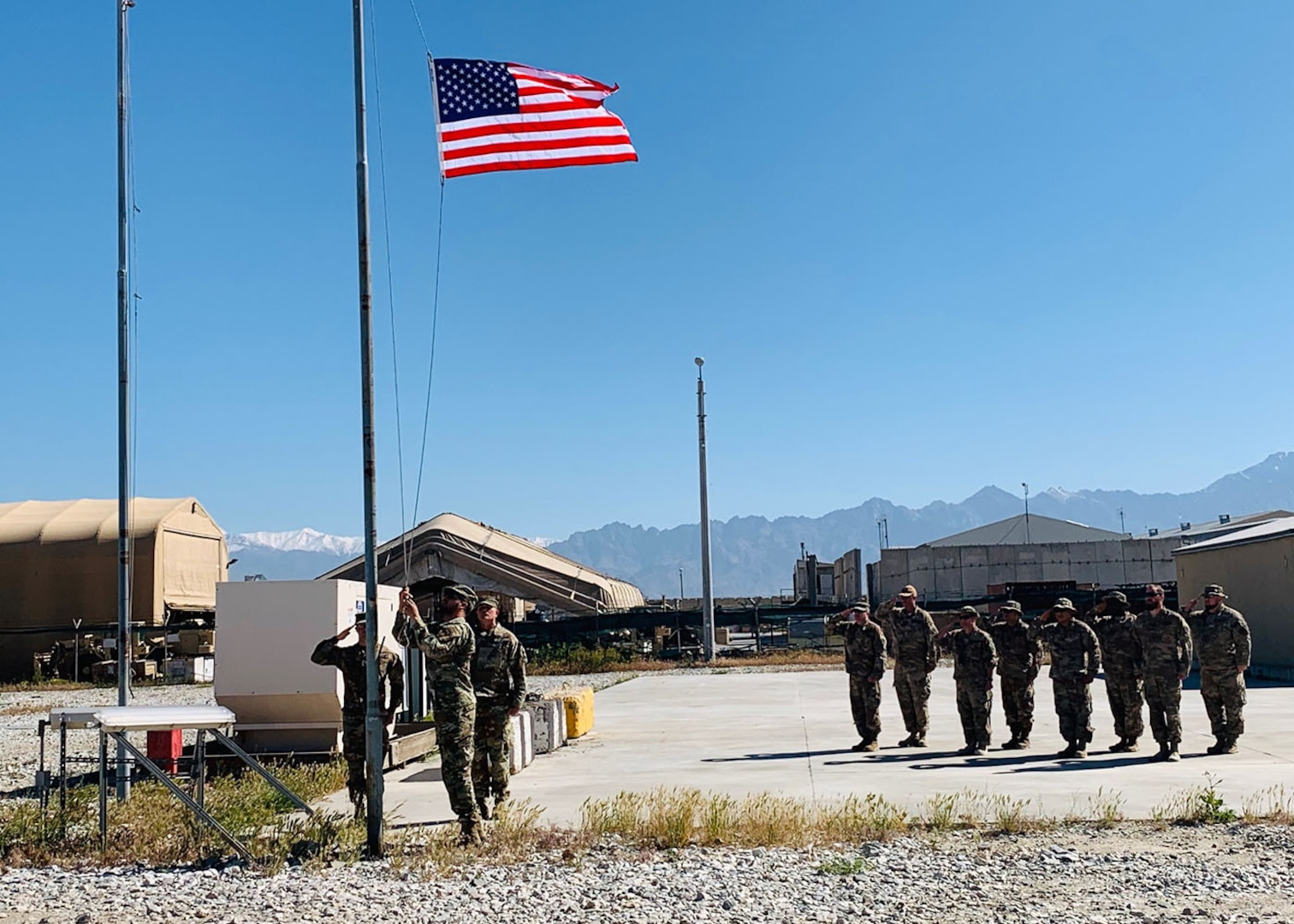 Members of the DLA Disposition Services team in Afghanistan take a moment to observe Memorial Day and remember fallen employee Krissie Davis killed during her 2015 deployment there.