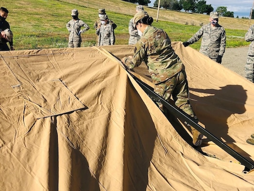 Air Force reservists in the 419th Force Support Squadron raced to set up a field kitchen during the Unit Training Assembly at Hill Air Force Base, Utah, June 7.