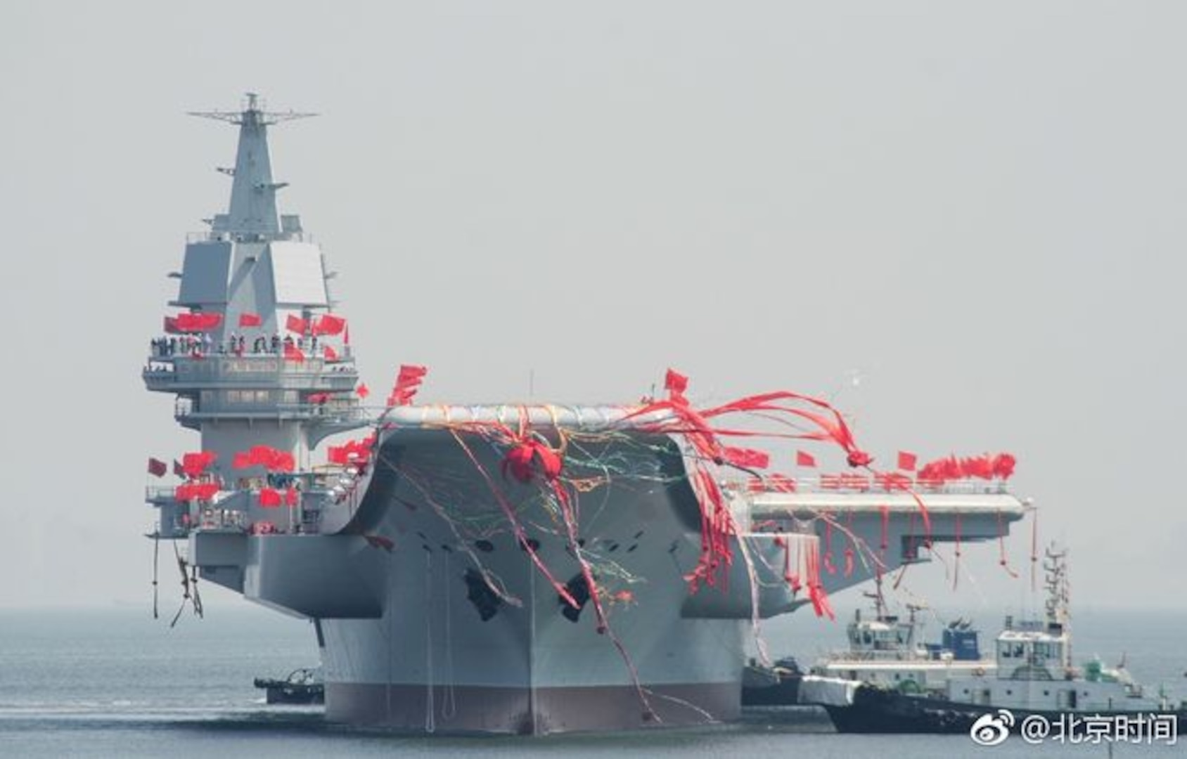 The Type 001A aircraft carrier, launched on April 26, 2017 in Dalian, China, is an improved variant of the Soviet designed Kuznetsov class.