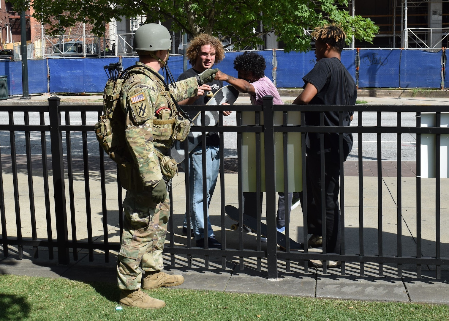 A Georgia National Guard Soldier interacts with people during a peaceful protest in Atlanta, June 2, 2020.
