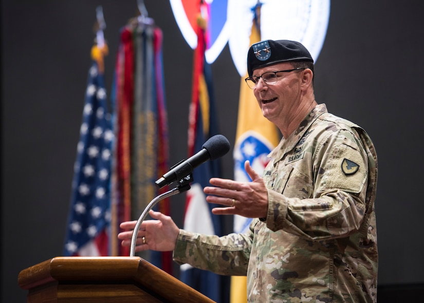 Maj. Gen. Jeffrey Drushal, U.S. Army Security Assistance Command's commanding general, addresses the audience during a relinquishment of command ceremony, 2 June 2020, at Redstone Arsenal, AL.