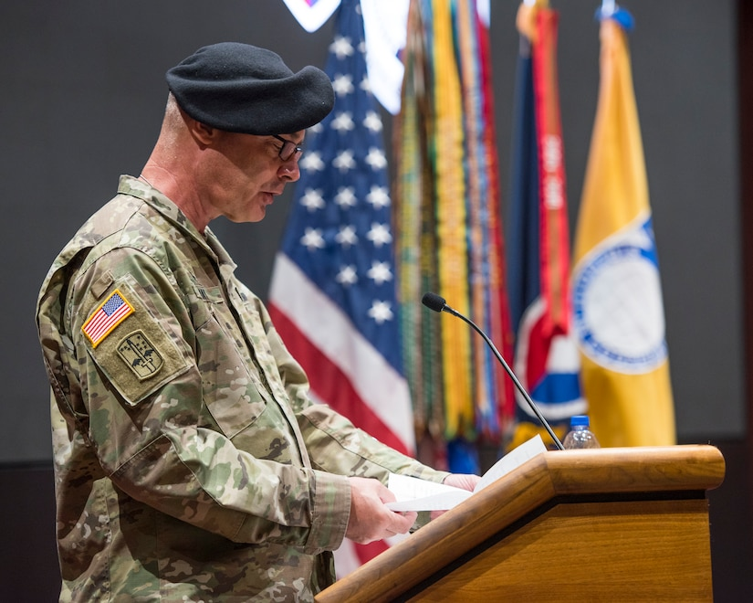 U.S. Army Chaplain (Colonel) Robert Nay, U.S. Army Security Assistance Command's command chaplain, provides an invocation during a relinquishment of command ceremony, 2 June 2020, at Redstone Arsenal. Maj. Gen. Jeffrey Drushal, U.S. Army Security Assistance Command's commanding general, relinquishes command to Dr. Myra  Gray, USASAC's Senior Executive Service officer and  deputy to the commanding general, who will assume Executive Director duties.